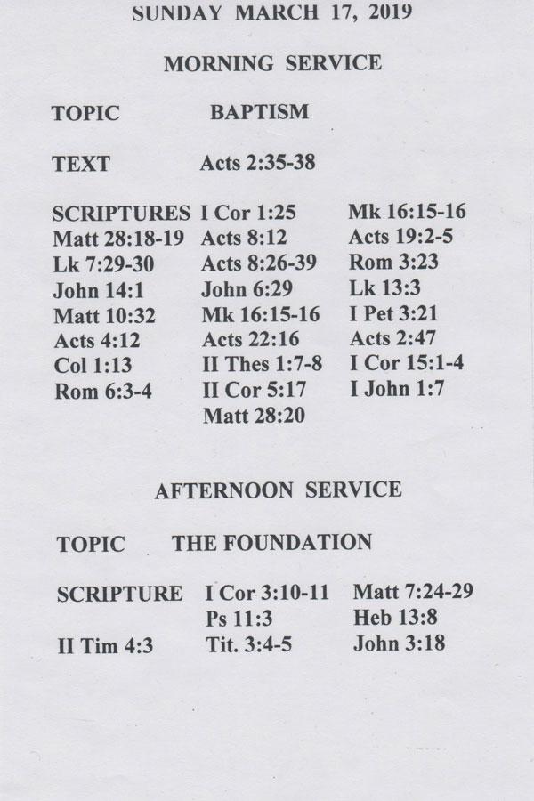Sermons Sunday, March 17, 2019